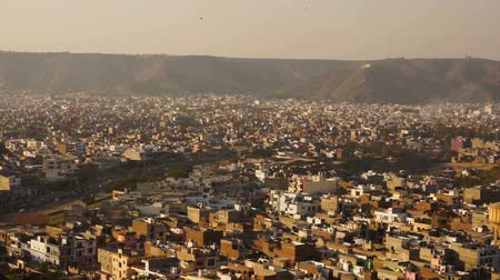 taken : View on jaipur pinkcity with colorful facades and details from hill of temple Stock Footage