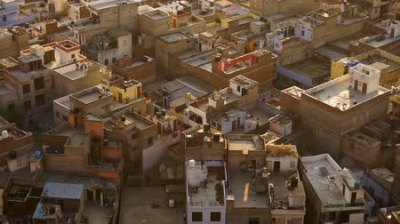 rajasthan : View on jaipur pinkcity with colorful facades and details from hill of temple Stock Footage