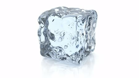gelado : 3D animation of rotating ice cube, alpha mask is included