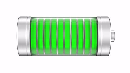 pil : Battery with a green charge progress indicator, 3D animation