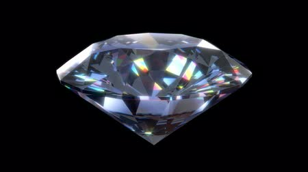 dönen : 3D animation of a precious diamond with sparkling highlights, alpha mask is included