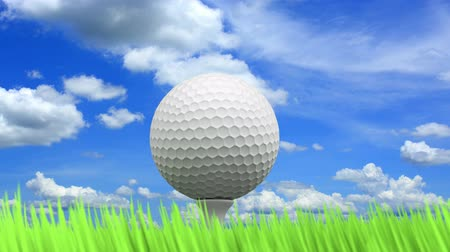 golfe : 3D animation of the golf ball, green grass and beautiful blue cloudy sky