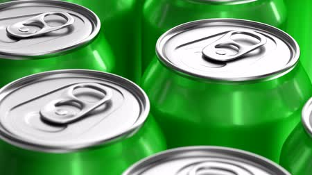 green soda can : 3D seamless looping animation of green soda cans moving on the production line
