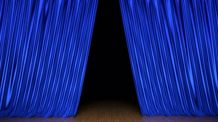 паркет : Blue stage curtain 3D animation with alpha mask