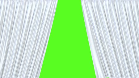 persiana : White stage curtain 3D animation with chroma key and alpha matte Stock Footage
