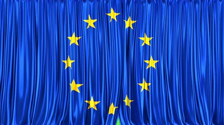 closing : Realistic 3D animation of the flag of European Union as the curtain Stock Footage