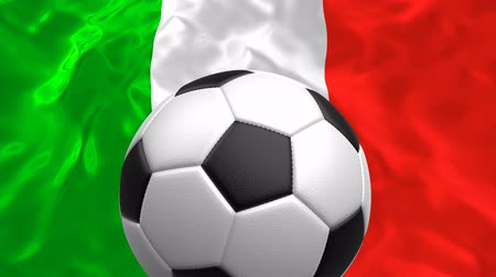 hábil : Looping 3D animation of the textured soccer ball rotating against the national flag of Italy
