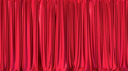 closing : Stage or window red curtains realistic 3D animation, chroma key and alpha matte are included Stock Footage