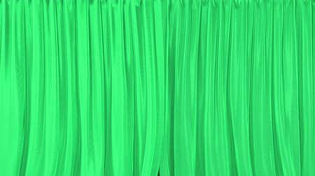 closing : Stage or window textured green curtains realistic 3D animation, alpha matte is included Stock Footage
