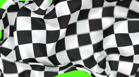 acabamento : Checkered race flag 60 fps 3D animation with alpha matte, shallow depth of field