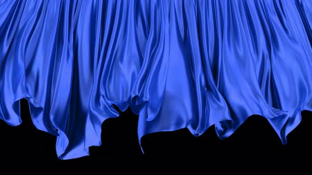 atlaszfényû : 3D animated transition of the blue window curtain moving with the wind, alpha matte is included