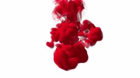 mürekkep : UHD 3D animated 60 fps simulation of the red ink in a liquid against the white background Stok Video