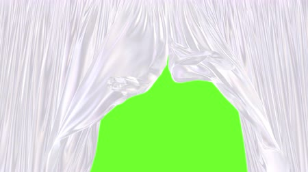 white cloths : 3D UHD animation of the glossy white window curtain moving with the wind, alpha matte is included