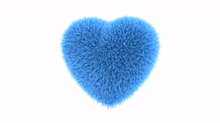 pelyhes : UHD 3D looping animation of the fluffy blue heart with alpha matte Stock mozgókép