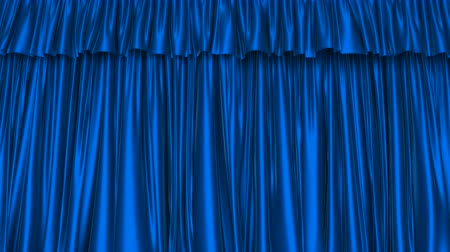 atlaszfényû : UHD 3D animation of the textured blue curtain with alpha matte