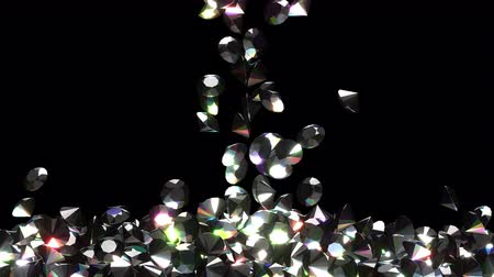 biżuteria : Black diamonds are filling the screen UHD 3D animation with alpha matte