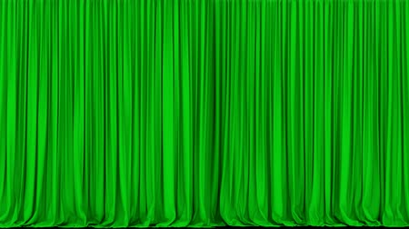 行為 : UHD 3D animation of the green stage curtain with alpha matte 動画素材