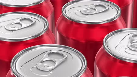 alumínium : UHD looping 3D animation of the red aluminum soda cans Stock mozgókép