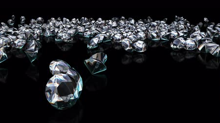 slomo : UHD 3D animated slow motion of the shining diamonds falling onto reflecting black surface Stock Footage