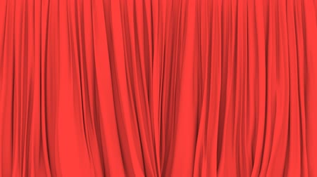perdeler : Stage or window red curtain PNG plus alpha 3D animation Stok Video