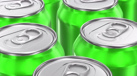ón : UHD looping 3D animation of the green aluminum soda cans