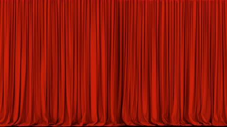 perdeler : UHD 3D animation of the dark red stage curtain with alpha matte Stok Video