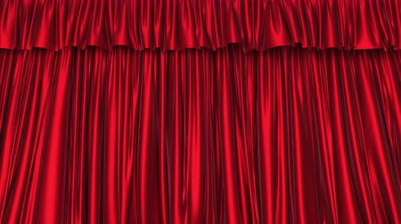 atlaszfényû : UHD 3D animation of the textured red curtain with alpha matte Stock mozgókép