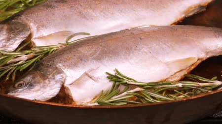 pisztráng : Frying fresh trout on the iron pan in UHD