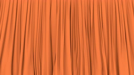 pomarańcza : UHD 3D animation of the stage or window orange curtain with alpha matte