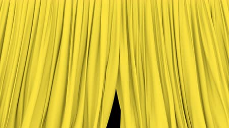 perdeler : UHD 3D animation of the stage or window yellow curtain with alpha matte Stok Video