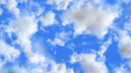 плавающий : UHD 3D animation of the realistic blue cloudy sky
