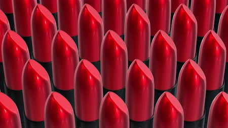 Looping UHD 3D animation of the red lipsticks Wideo