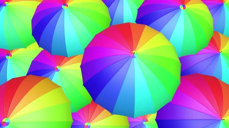 Colorful umbrella seamless looping UHD 3D animation Wideo