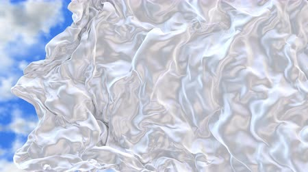 UHD 3D realistic animated opener of the pearly white silky waving cloth flies away revealing a blue cloudy sky as background