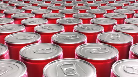 Looping 60 fps 3D animation of the red aluminum soda cans in UHD Wideo