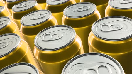 ón : Looping 60 fps 3D animation of the yellow aluminum soda cans in UHD Stock mozgókép