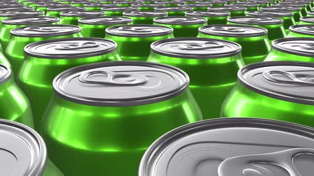 консервированный : Looping 60 fps 3D animation of the green aluminum soda cans in UHD