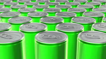 ón : Looping 60 fps 3D animation of the green aluminum soda cans in UHD