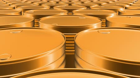 Looping 60 fps 3D animation of the yellow oil barrels in UHD