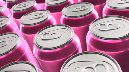 Looping 60 fps 3D animation of the pink aluminum soda cans in UHD Wideo