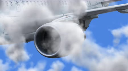 UHD 3D animated cinemagraph of the jet aircraft in a realistic blue cloudy sky