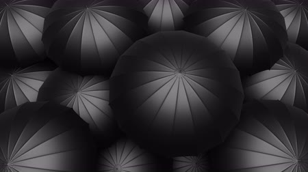 Black umbrellas seamless looping UHD 3D animation