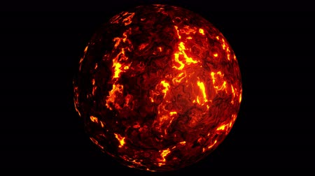 UHD looping 3D animation of the lava planet, last 30 frames is alpha