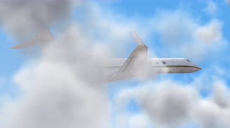 ультра : UHD 3D animated cinemagraph of the business jet aircraft in a realistic blue cloudy sky Стоковые видеозаписи