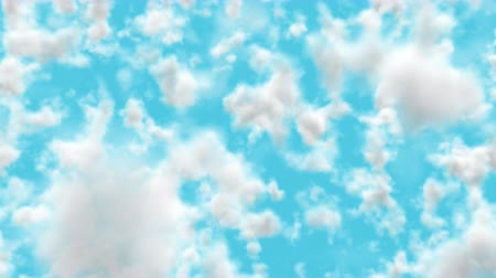UHD realistic camera fly-through 3D animation of the blue cloudy sky with alpha matte Wideo