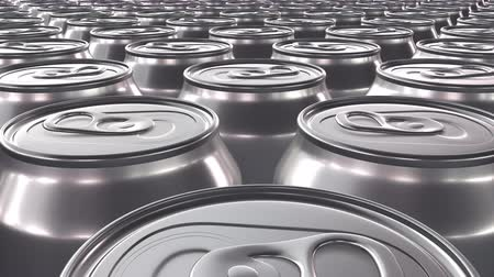 Looping 60 fps 3D animation of the blank aluminum soda cans in UHD