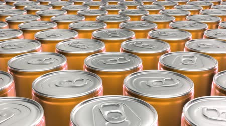 консервированный : Looping 60 fps 3D animation of the yellow aluminum soda cans in UHD Стоковые видеозаписи