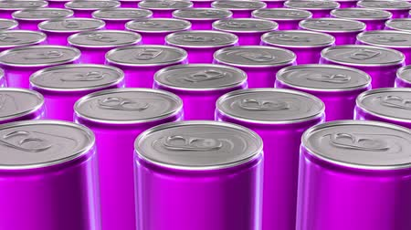 blank can : Looping 60 fps 3D animation of the pink aluminum soda cans in UHD Stock Footage