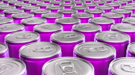 alumínium : Looping 60 fps 3D animation of the pink aluminum soda cans in UHD Stock mozgókép