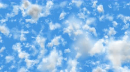 超現実的な : UHD realistic camera fly-through 3D animation of the blue cloudy sky with alpha matte 動画素材